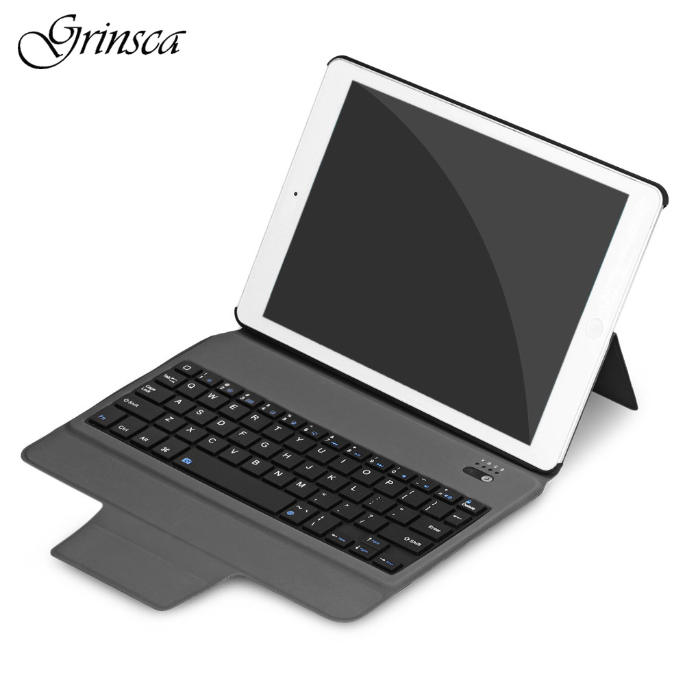 Fashion Business Portable Bluetooth Keyboard Stand Cover Case for iPad Air 1 / Air 2 / iPad Pro 9.7 Fe7
