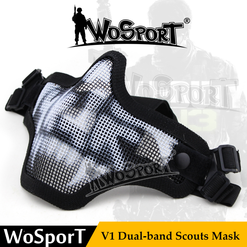WoSporT Tactical Mask V1 Metal Wire Mesh Half Face Protective Paintball Accessory For Hunting Army Airsoft CS Resistant Outdoor