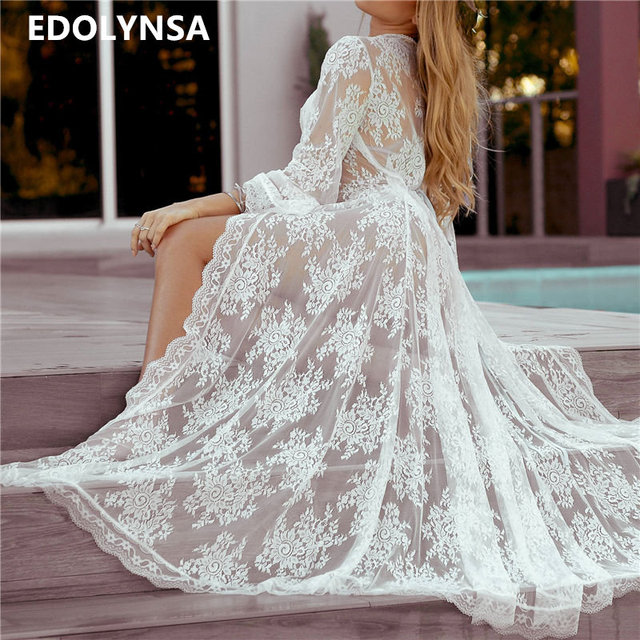Sexy Transparent Shirt Women Plus Size Beach Kimono Cardigan Vetement Femme 2018 Lace Embroidery White See Through blouses N609