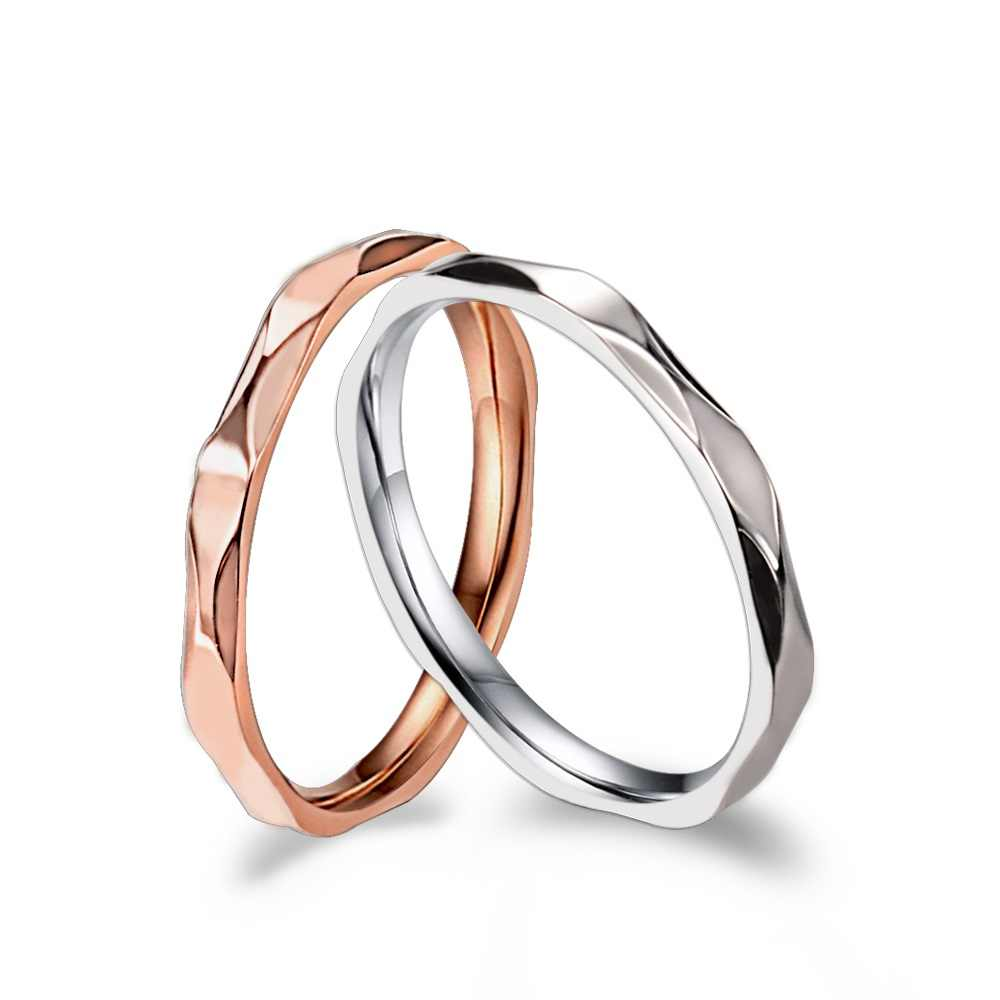 JHSL 2 mm Small Thin Stainless Steel Women Wedding Rings Silver Rose Gold Color US size 4 5 6 7 8 9