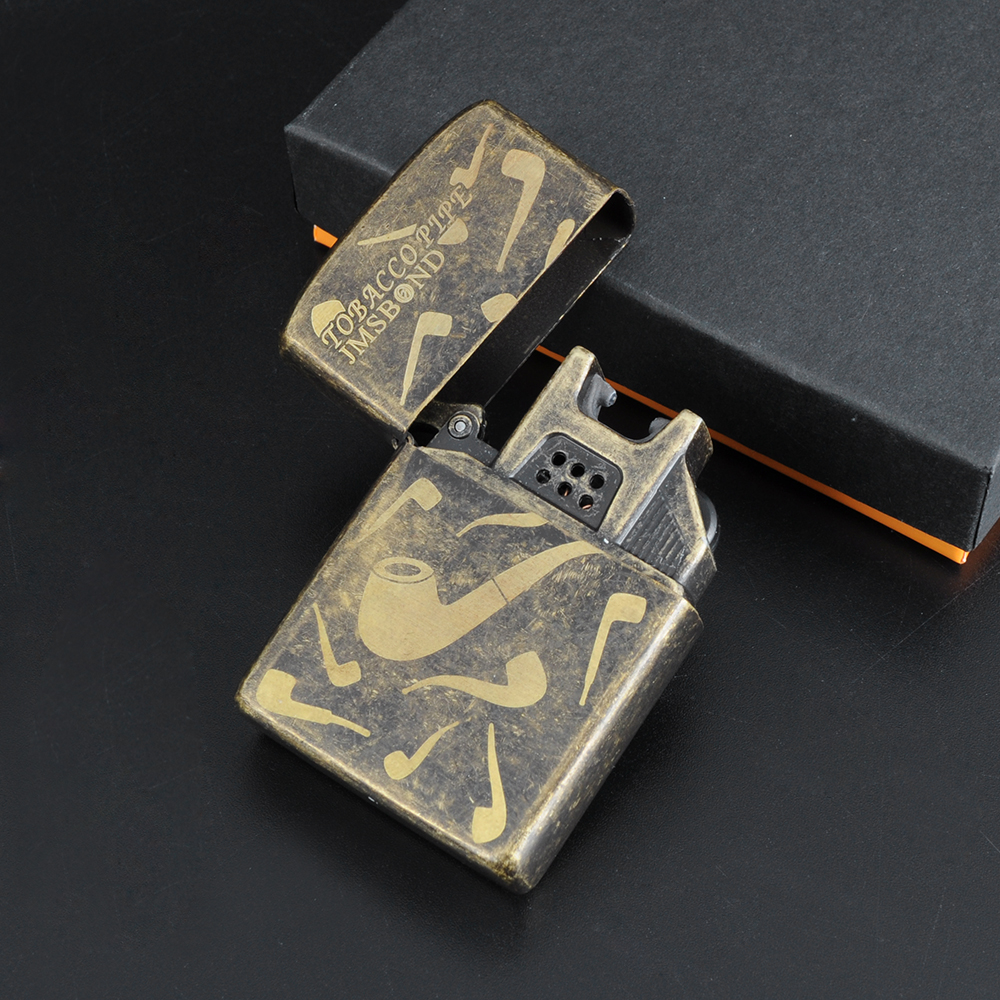 Smoking Pipe&Skull Pattern Cigarette Lighter USB Electronic Rechargeable Side Switch Torch Lighter Pulsed Arc Lighter Windproof