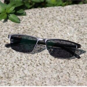 Image 5 - 0  0.5  0.75 4ハーフフレームphotochromism近視メガネ男性金属正方形太陽変色半袖近視眼鏡女性