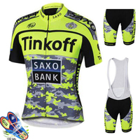tinkoff Men Cycling Jersey Set Summer Bike Bib Shorts Kit Breathable Lycra Bicycle Bike Suits triathlon maillots ciclismo hombre