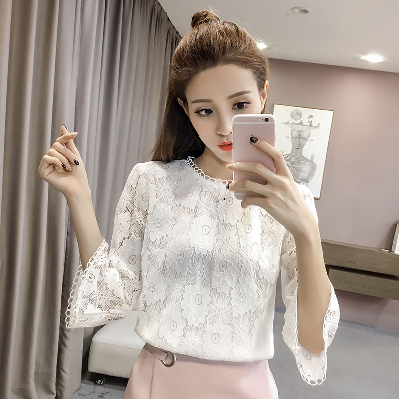 Spring Autumn Style Women Casual Lace   Blouses     Shirts   Lady Casual Three Quarter Sleeve O-Neck Blusas Tops White Beige DD2499