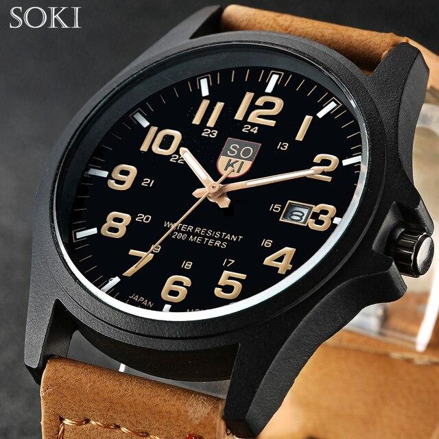 SOKI marca horas reloj Digital relojes para hombre de los hombres reloj de  cuarzo reloj Masculino 4a4b66339fc4