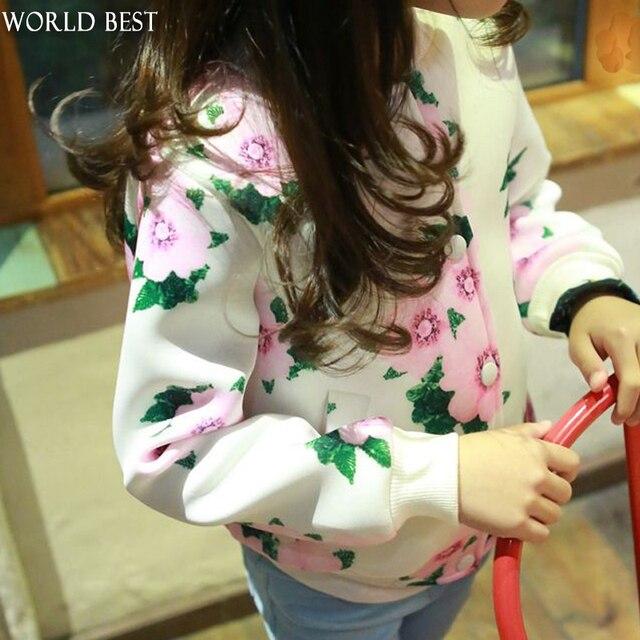 2016 Девушки Весной Куртка детская Куртка Детская Печати Мода Весна Дети Одежда Девушки Куртка Для Девочек Весна 2016 Новый