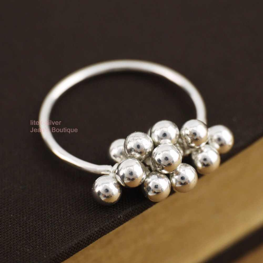 925 Sterling Silver Lovely Little 3mm Balls Tassel Ring A3200