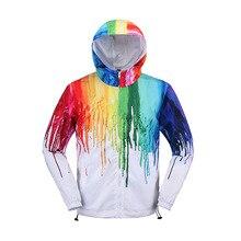 Красочные куртки с капюшоном для велоспорта Одежда для рыбалки Водонепроницаемая унисекс модная Радужная шляпа пальто Одежда для рыбалки на молнии Новинка