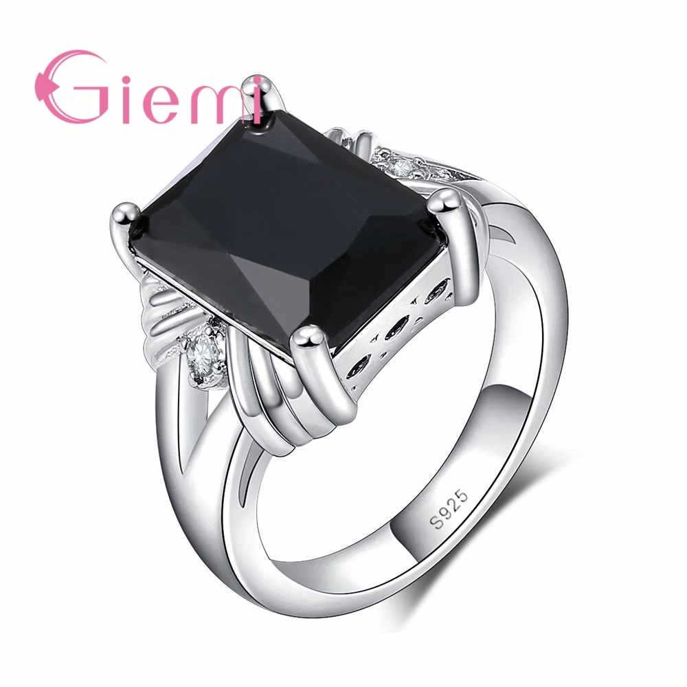 Высокое качество Черный квадратной формы дизайн кубического циркония палец кольца тонкой 925 пробы серебра для женщин/мужчин фестиваль подарок