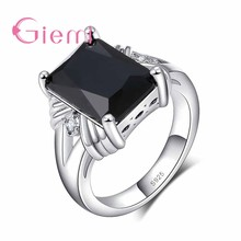 High Quality Black Square Shape Design Cubic Zirconia Finger Rings Fine 925 Sterling Silver For Women/Man Festival Gift(China)