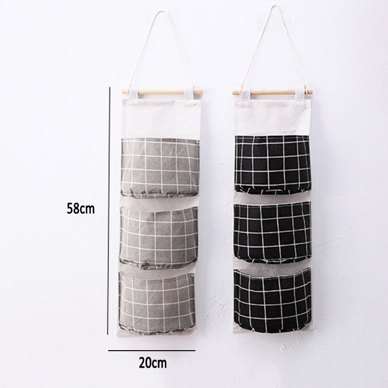Image 3 - New Organizer Foldable Plaid Hanging Pocket Storage Bag Bonsai Phone Hang Wall Home Dormitory Hanging Organizador 2019 Hot-in Hanging Organizers from Home & Garden