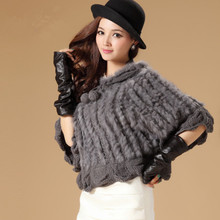 Autumn Winter Ladies Genuine Knitted Rabbit Fur Poncho with Hooded Women Fur Cloak Bridal Sweater Cape VK1439