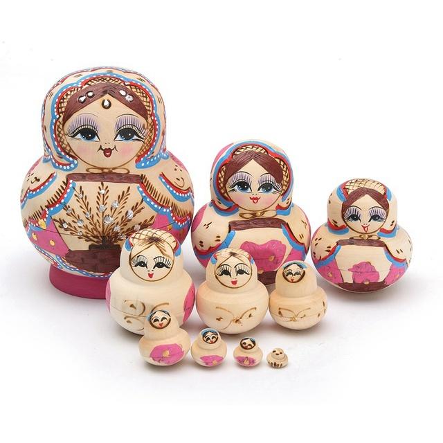 Novo 10 pçs/set novidade encantador conjunto de bonecas de madeira do assentamento do russo bonecas do assentamento de matryoshka pintados à mão do bebê de brinquedo toys presentes de aniversário