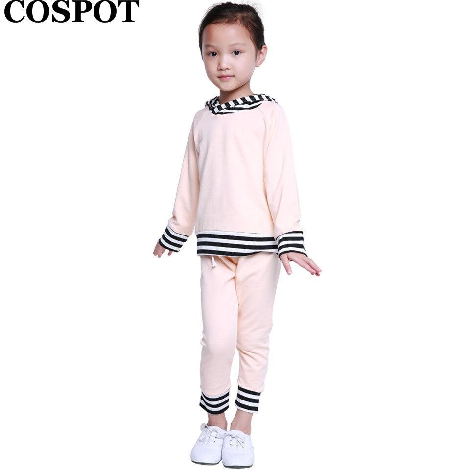 COSPOT Boys Girls Winter 2Pcs Clothing Sets Kids Autumn Striped Hoodies+Pants Toddler Children Fashion Sweatshirt Suits 2019 25
