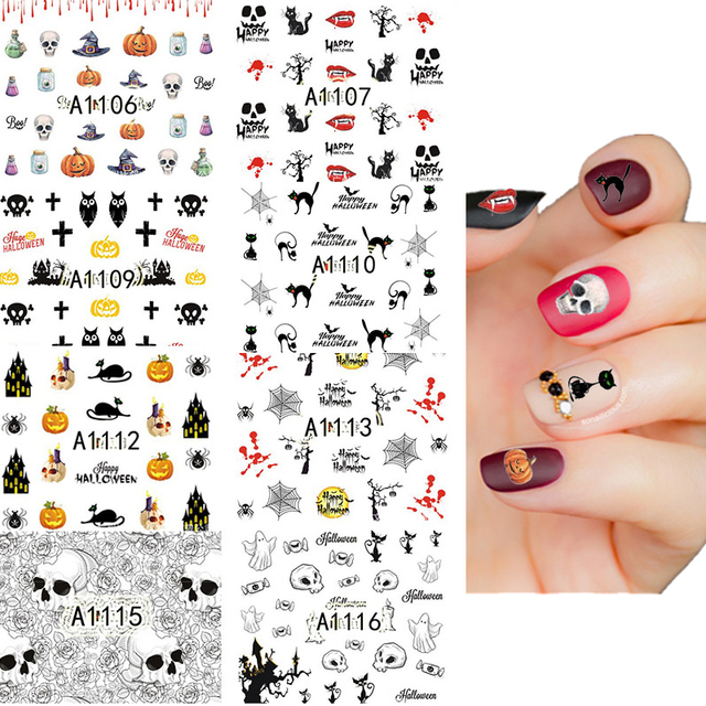 12pc Ultrathin Adhesive 3D Nail Art Sticker Cute Funny Halloween ...
