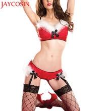 Сексуальное нижнее белье, рождественское женское нижнее белье, ночное белье, клубный костюм с подвязками, соблазнительная одежда, бюстгальтер и чулки, Короткие комплекты, ночное белье NO2A