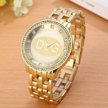 2017 New Well-known Model DQG Girls Gold Stainless Metal Quartz Watch Crystal Luxurious Informal Analog Watches Relogio Feminino Scorching sale