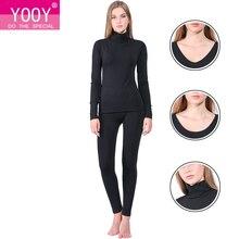 Yooy marca 2018 novo inverno roupa interior térmica feminino elástico respirável u pescoço casual quente longo johns conjuntos