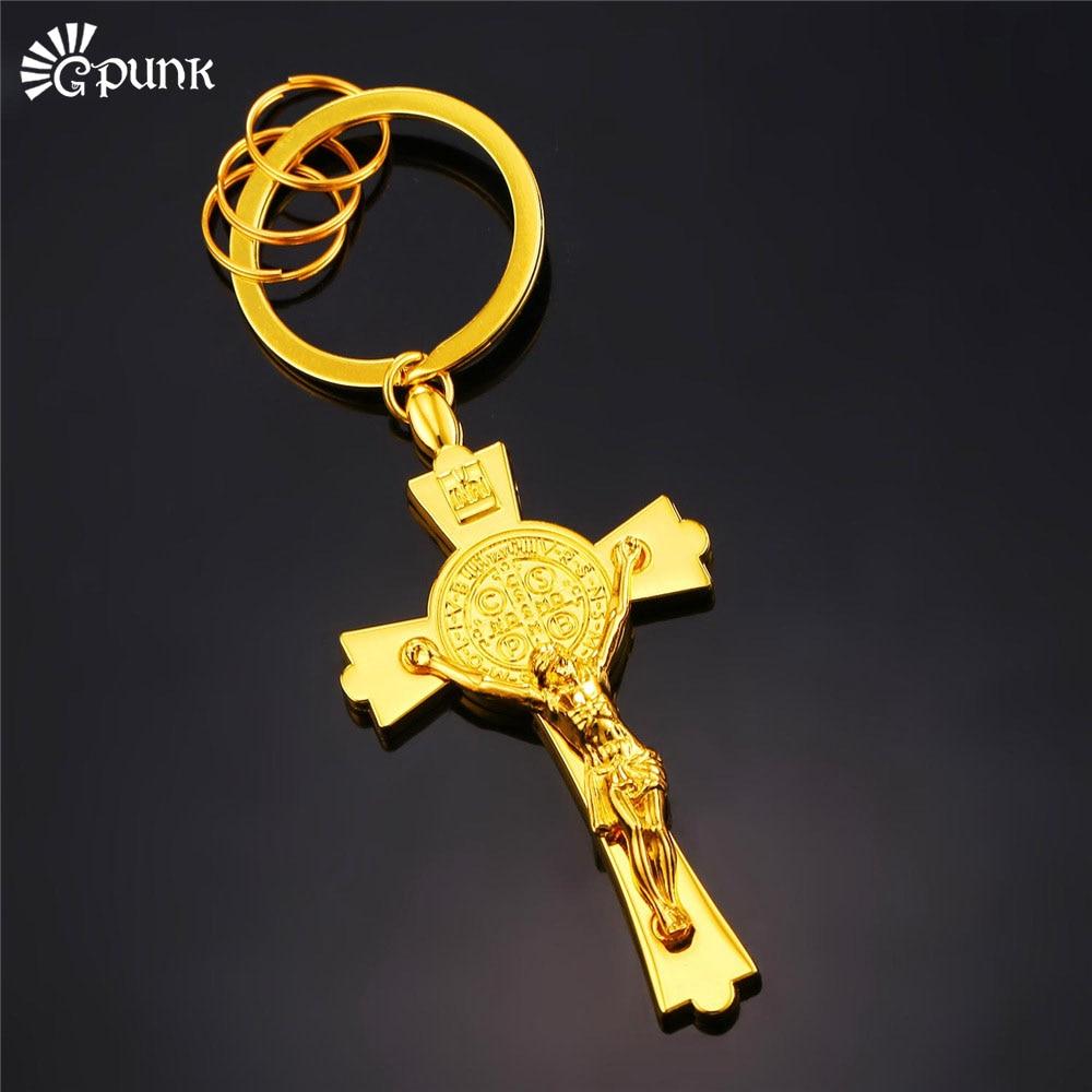 San Benito Medalha de São Bento Exorcismo Medalha de Ouro Preto Jesus Cruz  Chaveiro cor mens K24G d3508efc7f