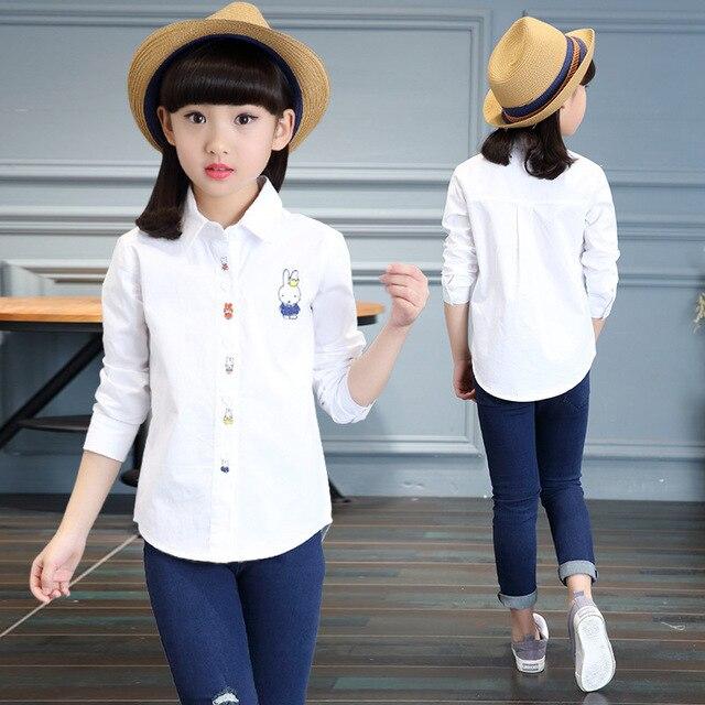 f3ebc3c14 Niñas Camisa Blanca de Manga Larga de Algodón Niños Blusas Para Niñas Niños  prendas de vestir