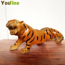 цены Chinese Feng Shui Bronze Tiger Art Sculpture Lucky Fortune Chinese Zodiac Animal Tiger Art Sculpture Beast Painted Statue