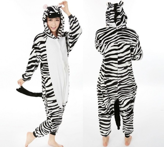 Adult Onesie Pajamas Zebra Cosplay Costume Animal Sleepwear Pajama onesies  for adults animal pajama suit free shipping 239b849a0