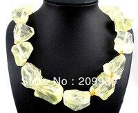 huij 003056 Raw Titanium Crystal Citrine Druzy Quartz Necklace Jewellery