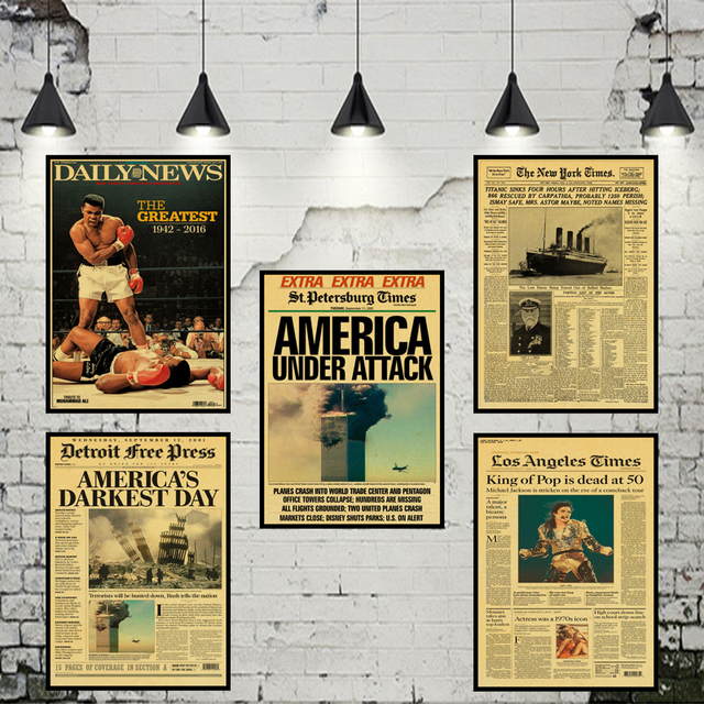 Awesome New York Times Newspaper Poster/ History Time / Kraft Old Newspaper Series  Kraft Brown Wall