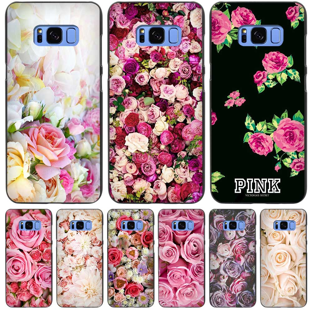 Pink Roses Bouquet Fresh Black Case Cover Shell Coque for Samsung Galaxy S3 S4 S5 Mini S6 S7 S8 Edge Plus S8+