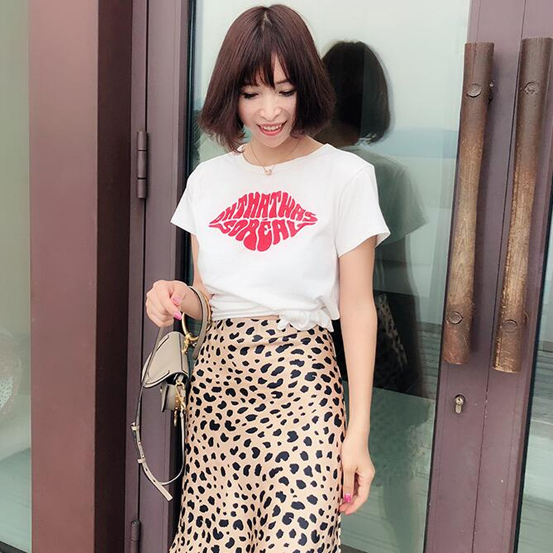 100% Cotton short sleeve red lips printed cute casual white t shirt tee tops