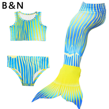 3 Pieces Mermaid Tail Swimsuit Top Vest Girl Pants Fins Fairy Tale Fashion Swimming Cloth Baby Dress Novelty Fish Fin Dive