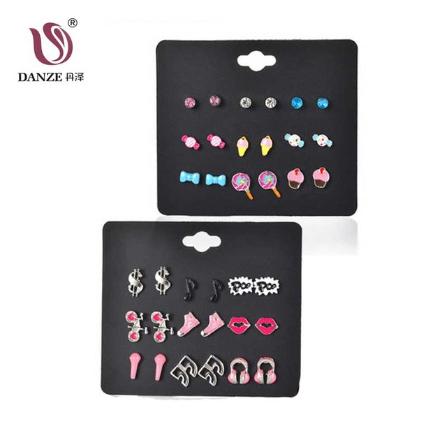 Danze 9 Pairs Lot Sweets Stud Earring Set For S Cute Dollar Headphone Kiss Note