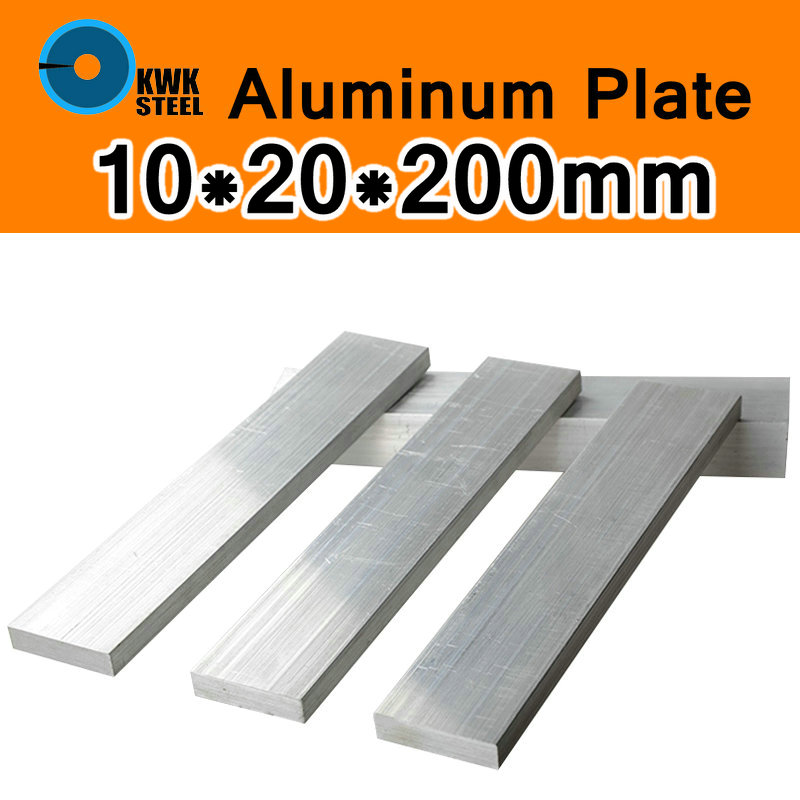 10*20*200mm Aluminum Alloy 6061 Plate AL Sheet DIY Material Model Parts Car Frame Metal For Vehicles Boat Industry Construction