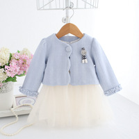 IDEA FISH girls dress kids children clothing set autumn clothes for 0 2T baby girls coat+baby dress suit 0 2T blue red
