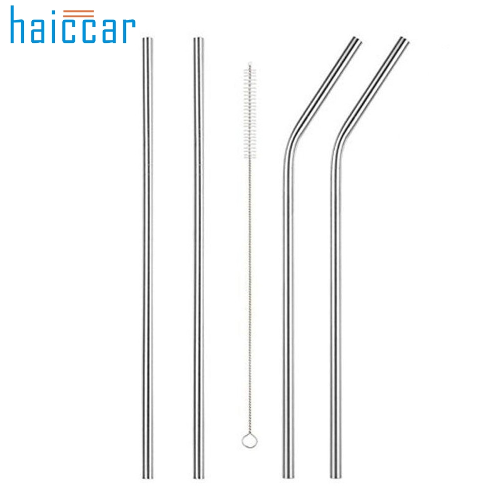 4PC Long Stainless Steel Drinking Straws 20 Oz30 Oz Cups + Cleaning Brush Fe27Levert Dropship