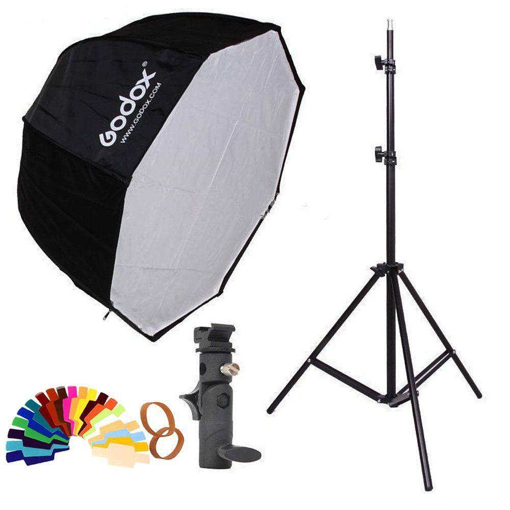 Godox 80 cm 80 cm octagon parapluie softbox Lumière stand parapluie staffa Hot shoe kit par Flash Speedlite