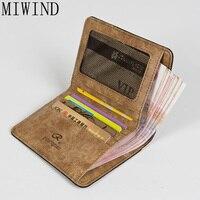 MIWIND 2017 Brand Luxury Crazy Horse Denim Man Wallet Simple Design Money Clip Wallet Man Credit Card Dollar Price TJL541