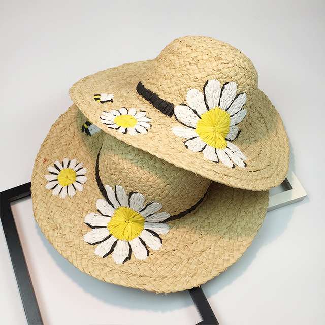 Summer Embroidery Daisy Straw wide-brim Floppy Hats Girl Sunny hat lafite  grass Ladies Straw Boho Cap Beach Panama sun cool Hat 32525757779