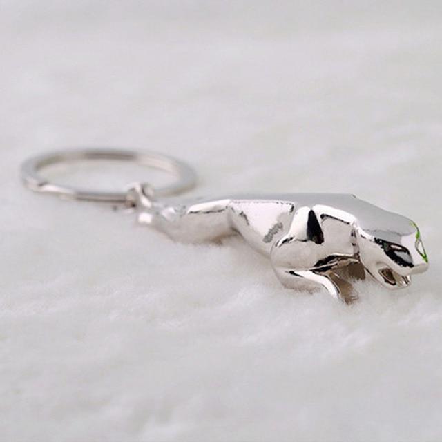 Fancy&Fantasy Fashion Men Car Auto Logo Jaguar Keychain Stylish Alloy Leopard Key Chain Silver Animal Sport Key Rings For Gift
