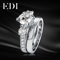 EDI Romantic 14K White Gold Ring Rose Flower 1CT Round Cut Moissanites Diamond Ring For Women Fine Jewelry Gifts