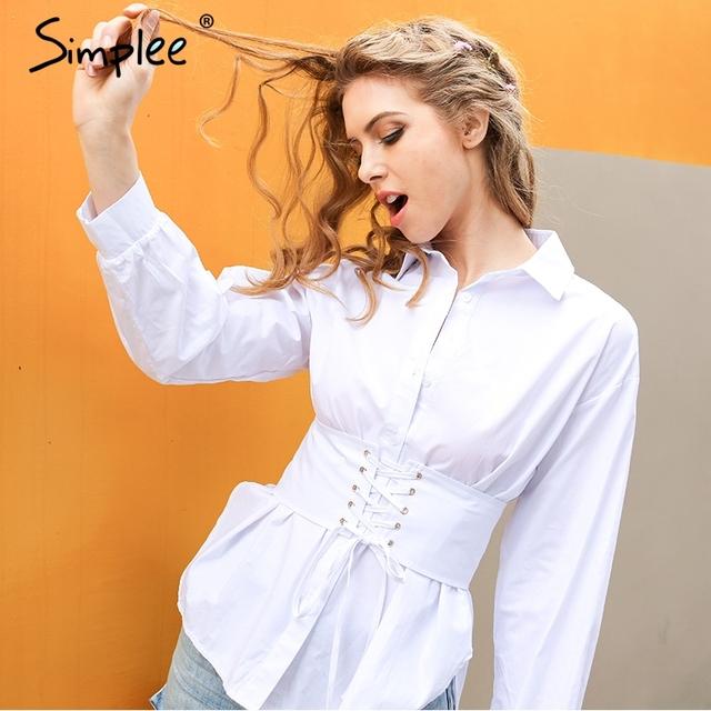 Simplee Nedensel lace up beyaz bluz gömlek Moda uzun kollu kemer kemer streetwear blusas Yaz ince düğme kadınlar bluzlar