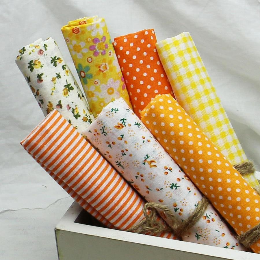 7ks 100% bavlněná tkanina Plain Yellow Printed prošitá tkanina set, textilní patchwork, tkanina pro šití Tissu DIY panenka