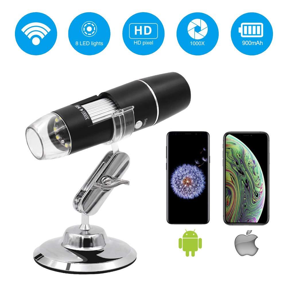 Wifi Wireless USB Digital Microscope 1000X Camera Portable Coin Endoscope for iPhone iPad Android Xiaomi Huawei Samsung Phone(China)