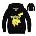 2-10Y niños ropa Pokemon Pikachu otoño Embroma la ropa de algodón de los muchachos de manga larga Con Capucha t shirt de Dibujos Animados niños tops Sudaderas
