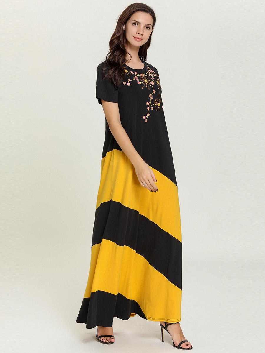 Женское длинное мусульманское платье с вышивкой летний халат черный abaya Дубай Турецкая индейка Bangladesh кафтан плюс размер Исламская одежда