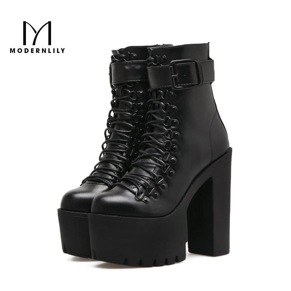 Motorcycle Boots Women Black PU Leather 14.5CM Extreme High Heels 2017 Autumn Brand Platform Gothic Shoes Woman Ankle Boots gothic skull hand pu leather bracelet black silver