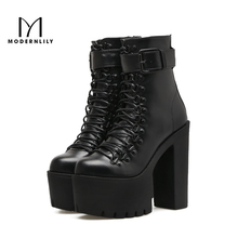 Motorcycle Boots Women Black PU Leather 14.5CM Extreme High Heels 2017 Autumn Brand Platform Gothic Shoes Woman Ankle Boots
