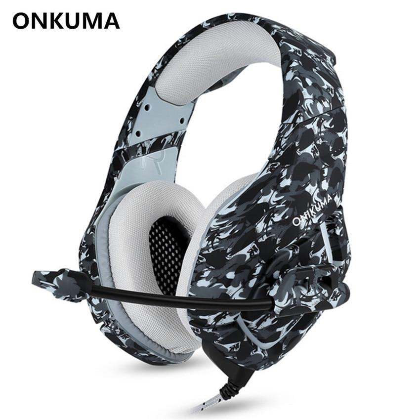 ONIKUMA K1-B PC Gaming Headset Baixo Fones De Ouvido MICROFONE para PS4 novo Xbox 360 1 Interruptor Computador PUBG do Jogo Do Telefone Móvel Fone de Ouvido camuflagem
