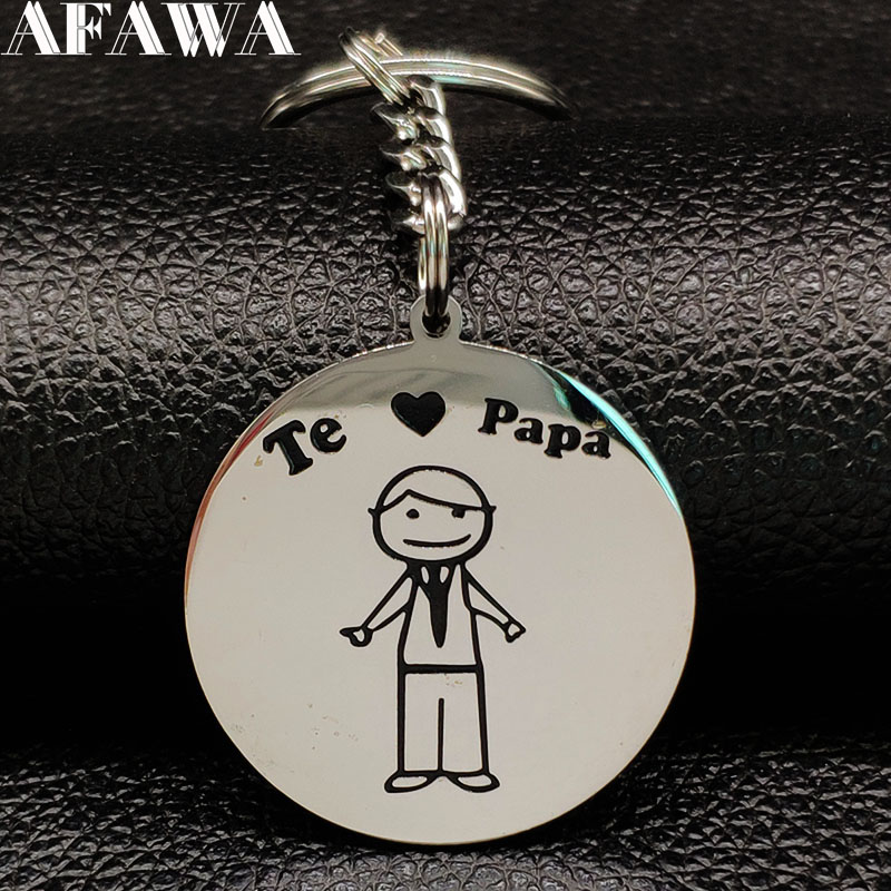 2019 Fashion PAPA Stainless Steel Keychains For Women Silver Color Famliy Pendant For Key Jewelry Llaveros Para Hombre K77401B