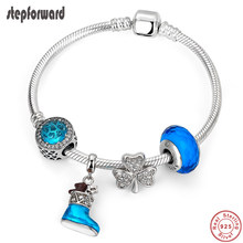 STEP FORWARD Hot Sale 925 Sterling Silver Fancy Blue Snow Boot CZ Clover Bracelets & Bangles For Woman Fashion Jewelry WLB012(China)